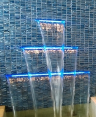 RGB LED light acrylic spillway water curtain pool ...